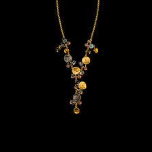 """Midnight 16"""" Adjustable Gold Statement Necklace 