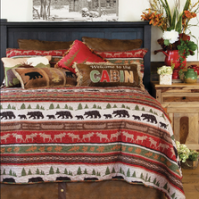Cabin and Lodge Stripe Quilt King Bedding Set | Carstens | JQ358