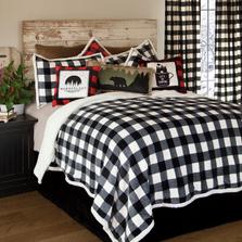 Lumberjack Buffalo Plaid Black White Queen Bedding Set   Carstens   JP801