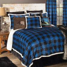 Lumberjack Plaid Wrangler Blue Queen Bedding Set   Carstens   JW201