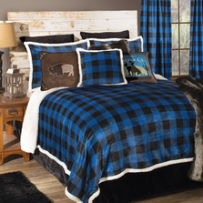Lumberjack Plaid Wrangler Blue Queen Bedding Set | Carstens | JW201