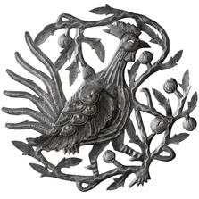 Rooster in Tree Recycled Steel Drum Wall Art | Le Primitif | 2052