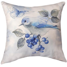 Spring Blue Birds Throw Pillow | SLLSPB