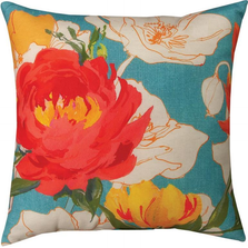 Peony and Poppies Throw Pillow | SLPEPO