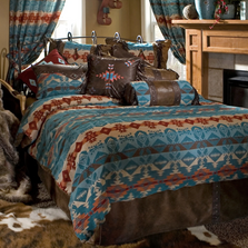 Turquoise Chamarro Southwestern Queen Bedding Set | Carstens | JB2076-5