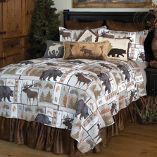 Vintage Lodge Bear Moose Queen Quilt Bedding Set | Carstens | JQ351