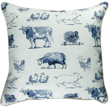 Farm Life Blue Throw Pillow | SLFLBL