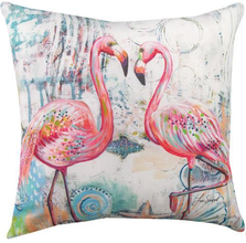 "Flamingo Indoor Outdoor Throw Pillow ""Jewels of the Sea"" 