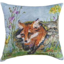 "Fox Indoor Outdoor Throw Pillow ""Spring Fox"" 