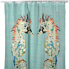 "Seahorses Shower Curtain ""Aqua Betsy's"" | BDSH388C"