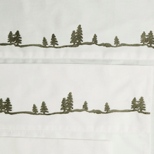 Embroidered Pines Twin Cotton Sheet Set | Carstens | JS202-T