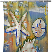 "Starfish Shower Curtain ""Beach Treasures"" 