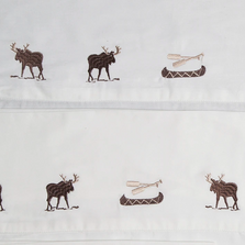 Embroidered Moose Twin Cotton Sheet Set | Carstens | JS201-T