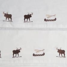 Embroidered Moose Full Cotton Sheet Set | Carstens | JS201-F