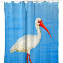 "Ibis Shower Curtain ""Posing White Ibis"" 