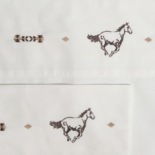 Embroidered Horse Cotton Twin Sheet Set | Carstens | JS204-T