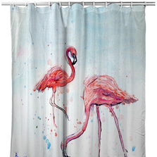 "Flamingos Shower Curtain ""Betsy's Flamingos"" 