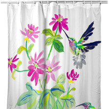 "Hummingbird Shower Curtain ""Ruby Throat"" 