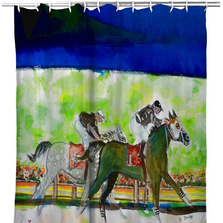 "Horses Shower Curtain ""Close Race"" 