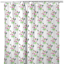 "Hummingbird Shower Curtain ""Ruby Throat Tiled"" 