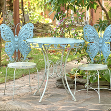 Butterfly Outdoor Bistro Table Set with 2 Chairs | Zaer International | ZR130377-BL