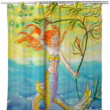 "Mermaid Shower Curtain ""Betsy's Mermaid"" 