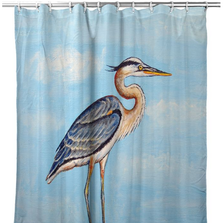 "Blue Heron Shower Curtain ""Blue Heron on Stump"" 