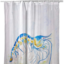 "Shrimp Shower Curtain ""Blue Shrimp"" 
