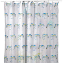 "Shrimp Tiled Shower Curtain ""Blue Shrimp"" 
