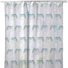 "Shrimp Tiled Shower Curtain ""Blue Shrimp"" | BDSH753T"
