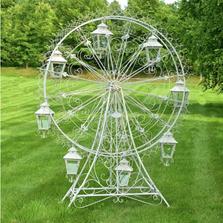 "Iron Ferris Wheel ""Atlantic"" with Hanging Lanterns Garden Statue   Zaer International   ZR170810-WH"