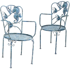 Seahorse and Fish Iron Garden Chair | Zaer International | ZR180494