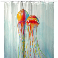"""Jellyfish Shower Curtain """"Colorful Jellyfish"""" 