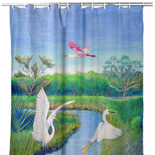 "Shorebirds Shower Curtain ""Marsh Wings"" 