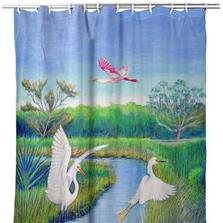 "Shorebirds Shower Curtain ""Marsh Wings"" | BDSH1105"