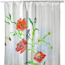 "Flowers Shower Curtain ""Poppies & Daisies"" 