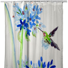 Hummingbird & Blue Flowers Shower Curtain | BDSH808