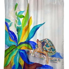 "Turtle Shower Curtain ""Turtle & Lily"" 