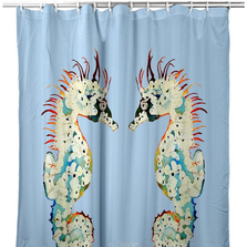 Betsy's Seahorses Light Blue Shower Curtain | BDSH388B
