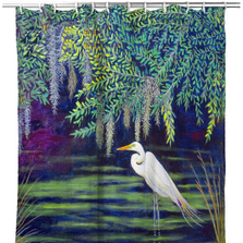 "Egret Shower Curtain ""Egret Lagoon"" 