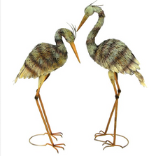 Large Heron Iron Garden Statue Set of 2 | Zaer International | ZR180186