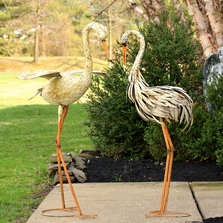 Rustic Dancing Heron Large Iron Garden Statue Set of 2 | Zaer International | ZR120027