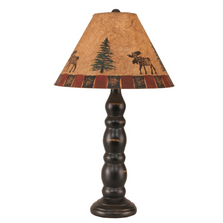 Distressed Black Candlestick Table Lamp with Moose Shade | Coast Lamp | 12-R8A