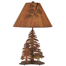 Moose and Pine Charred Iron Table Lamp | Coast Lamp | 12-R8B