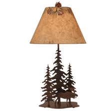 Moose and 3 Pine Rust Streaked Iron Table Lamp | Coast Lamp | 12-R8C