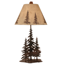 Elk and 3 Pine Rust Streaked Iron Table Lamp | Coast Lamp | 12-R9A