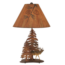 Elk and 2 Pine Charred Iron Table Lamp | Coast Lamp | 12-R9B