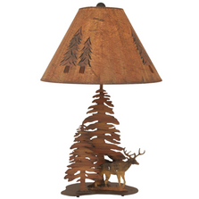 Deer and 2 Pine Charred Iron Table Lamp | Coast Lamp | 12-R9C