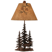 Deer and 3 Pine Rust Streaked Iron Table Lamp | Coast Lamp | 12-R9D