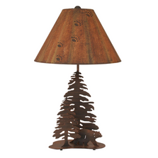 Bear and 2 Pine Burnt Sienna Iron Table Lamp | Coast Lamp | 12-R16B